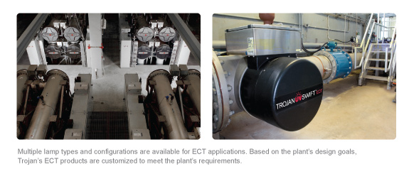 Multiple lamp types and configurations are available for ECT applications. Based on the plant's design goals, Trojan's ECT products are customized to meet the plant's requirements.